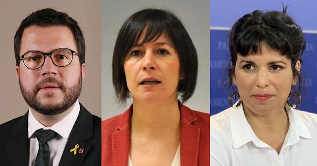 Pere Aragonès (ERC), Ana Pontón (BNG) y Teresa Rodríguez (Adelante Andalucía).