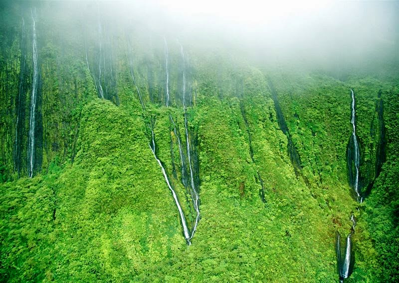 Maui, Honokohau Falls, The water here falls from a height of more than 100 meters and all its power falls into the cavity, then to continue its run.
