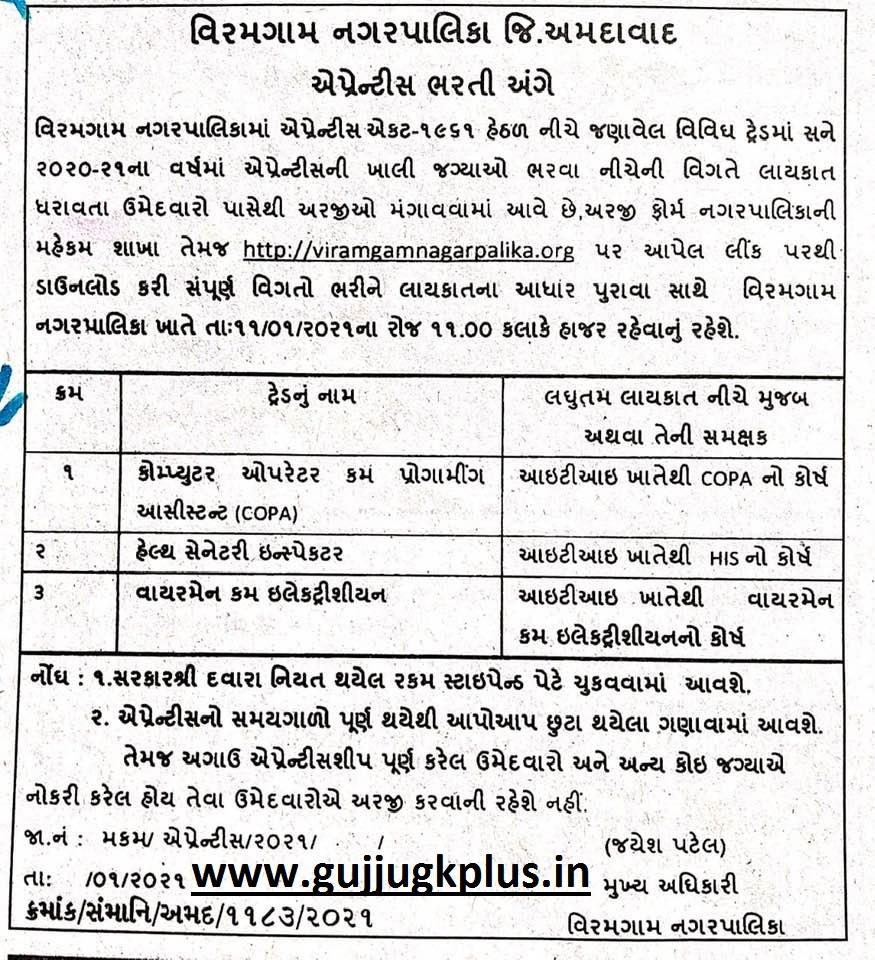 Viramgam Nagarpalika Apprentice Bharati Form 2021.
