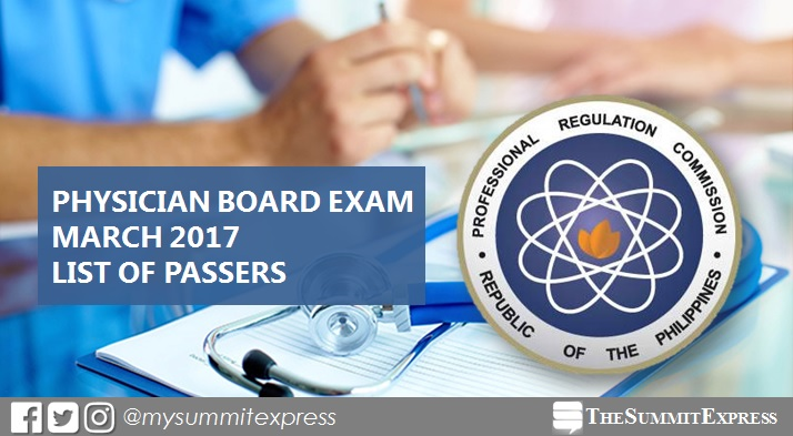 List of Passers: March 2017 Physician board exam results