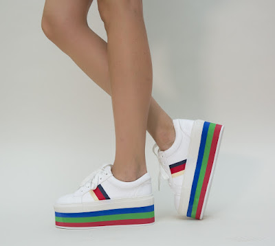 Pantofi Sport dama Albi cu talpa inalta multicolora