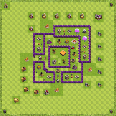 War Base Town Hall Level 7 By Khris Brannon (Dragon Defence Layout)
