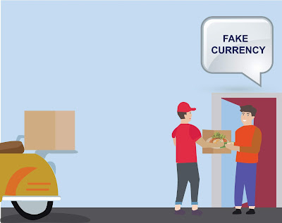 fake currency at food delivery