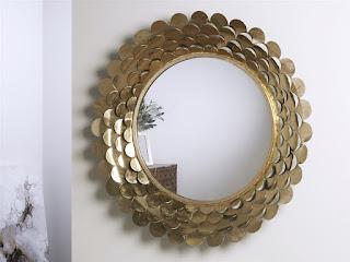 espejo clasico redondo oro