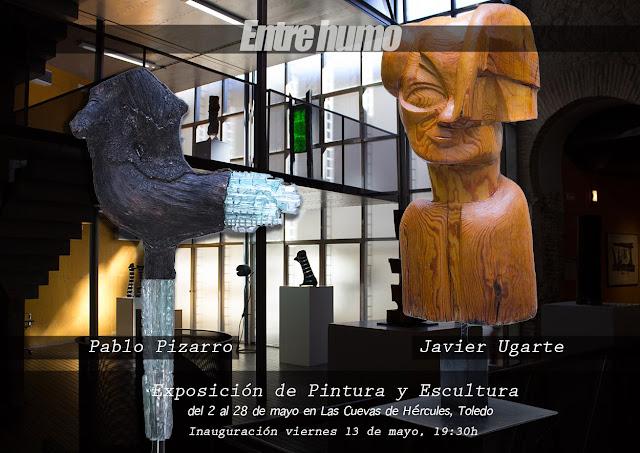 Cartel de la exposición entre humo, Javier Ugarte