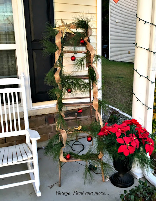 "Vintage, Paint and more... vintage ladder made into Christmas ""tree"" with fresh greenery, ribbon and lights"
