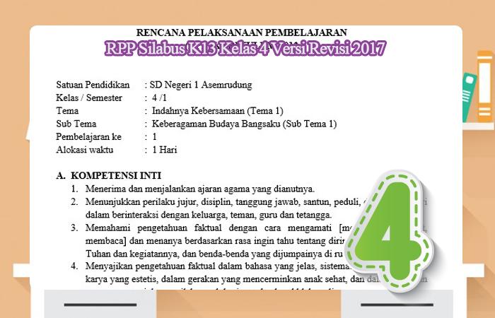 RPP Silabus K13 Kelas 4 Versi Revisi 2017