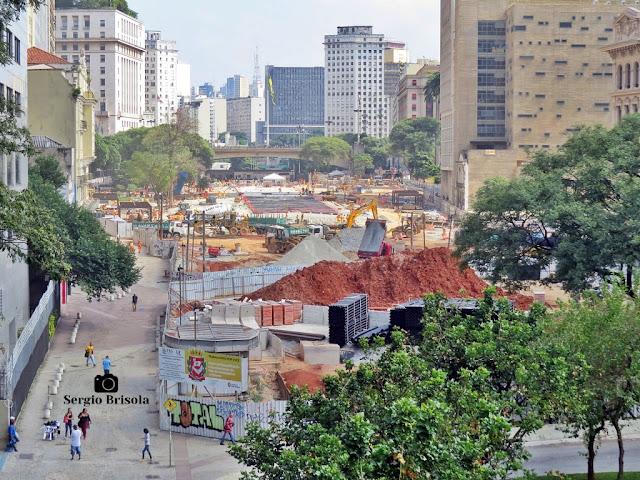 Vista ampla do Vale do Anhangabaú em obras - Abril de 2020 - Centro - São Paulo