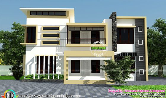 Modern home flat roof
