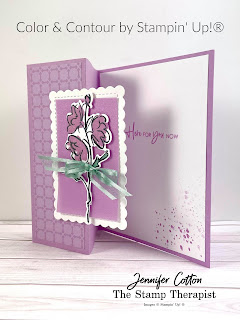 This purple fun fold card use Stampin' Up!'s Color & Contour Bundle (Color & Contour stamp set and Scalloped Contours Dies).  It also uses the new in colors Fresh Freesia and Soft Succulent (2021-2023), 2021-2023 In Color Shimmer Vellum, In-Color 6x6 Designer Series Paper Assortment, Wink of Stella, and Soft Succulent Open Weave Ribbon.  #StampinUp #InColor #StampTherapist #ColorandContour