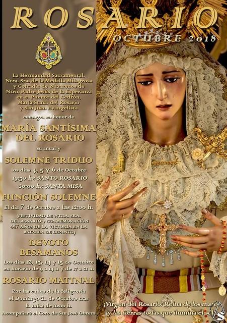 Horario e Itinerario Rosario Público de la Virgen del Rosario de la Milagrosa. Sevilla 21/10/2018