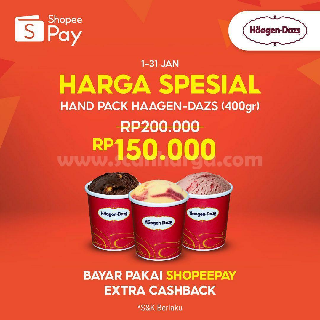 Promo Haagen Dazs Hand Pack 400gr hanya Rp 150.000 Pakai ShopeePay