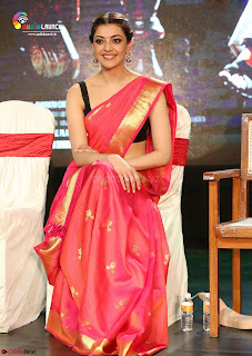 Kajal Agarwal in Red Saree Sleeveless Blouse Stunning Pics  Exclusive Galleries 001.jpg