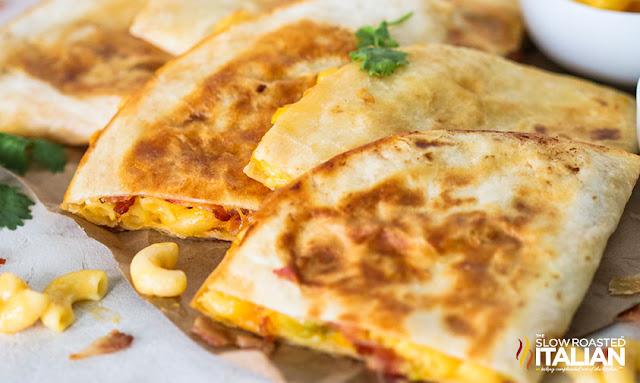 macaroni and cheese quesadillas