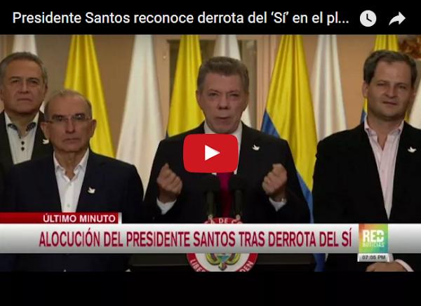 """Juan Manuel Santos reconoce """"entre dientes"""" que perdió el SI"""