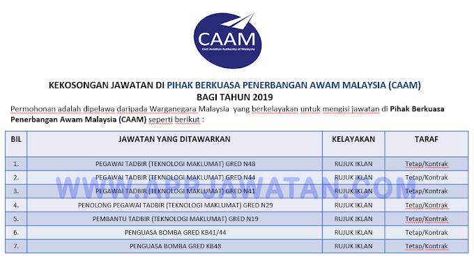 Jawatan Kosong Terkini di Pihak Berkuasa Penerbangan Awam Malaysia (CAAM).