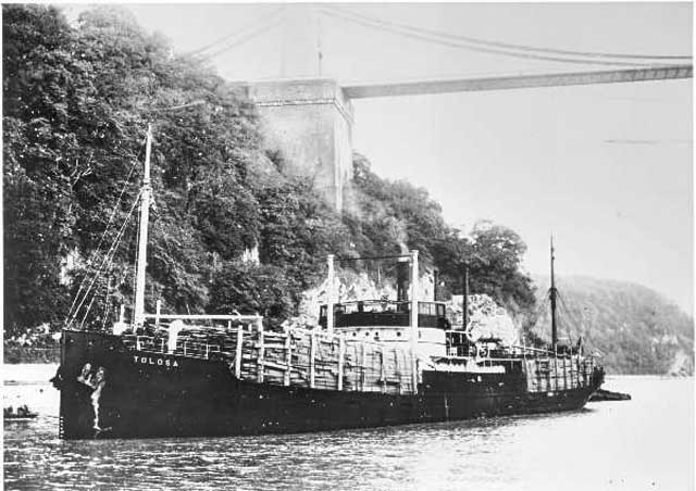 SS Tolosa, sunk on 9 February 1942, worldwartwo.filminspector.com