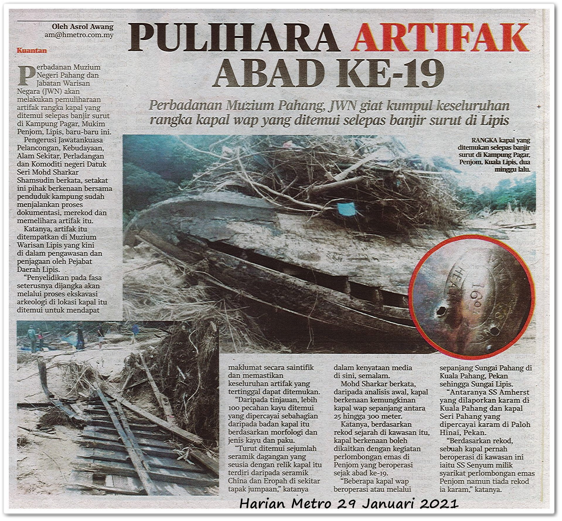 Pulihara artifak abad ke-19 - Keratan akhbar Harian Metro 29 Januari 2021