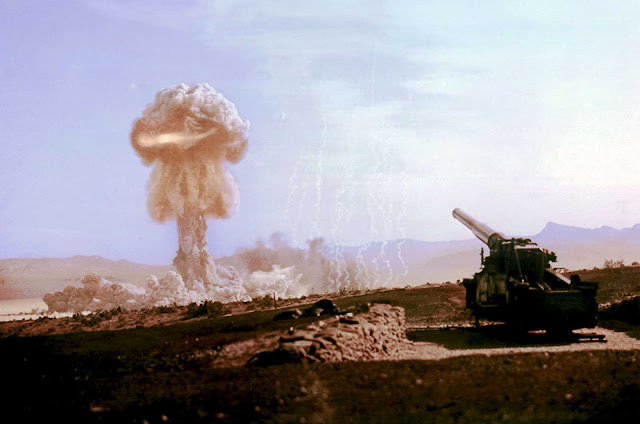 Operation Upshot-Knothole Grable, a test carried out by the U.S. military in Nevada on May 25, 1953. A 280mm nuclear shell was fired 6 miles into the desert by the M65 Atomic Cannon, detonating in the air, about 500 feet above the ground, with a resulting 15-kiloton explosion.