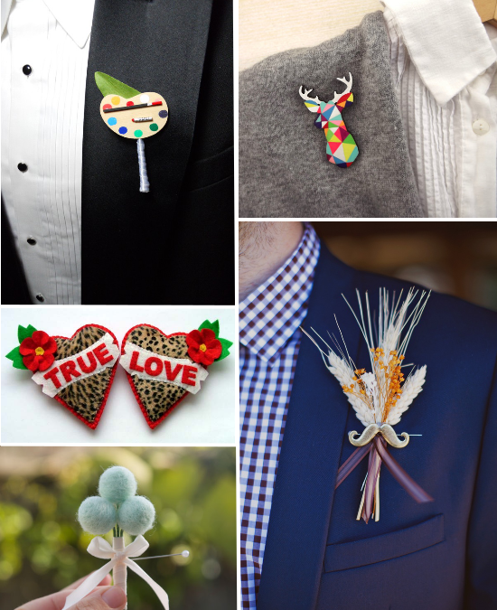 alternative boutonnieres, Etsy, groom
