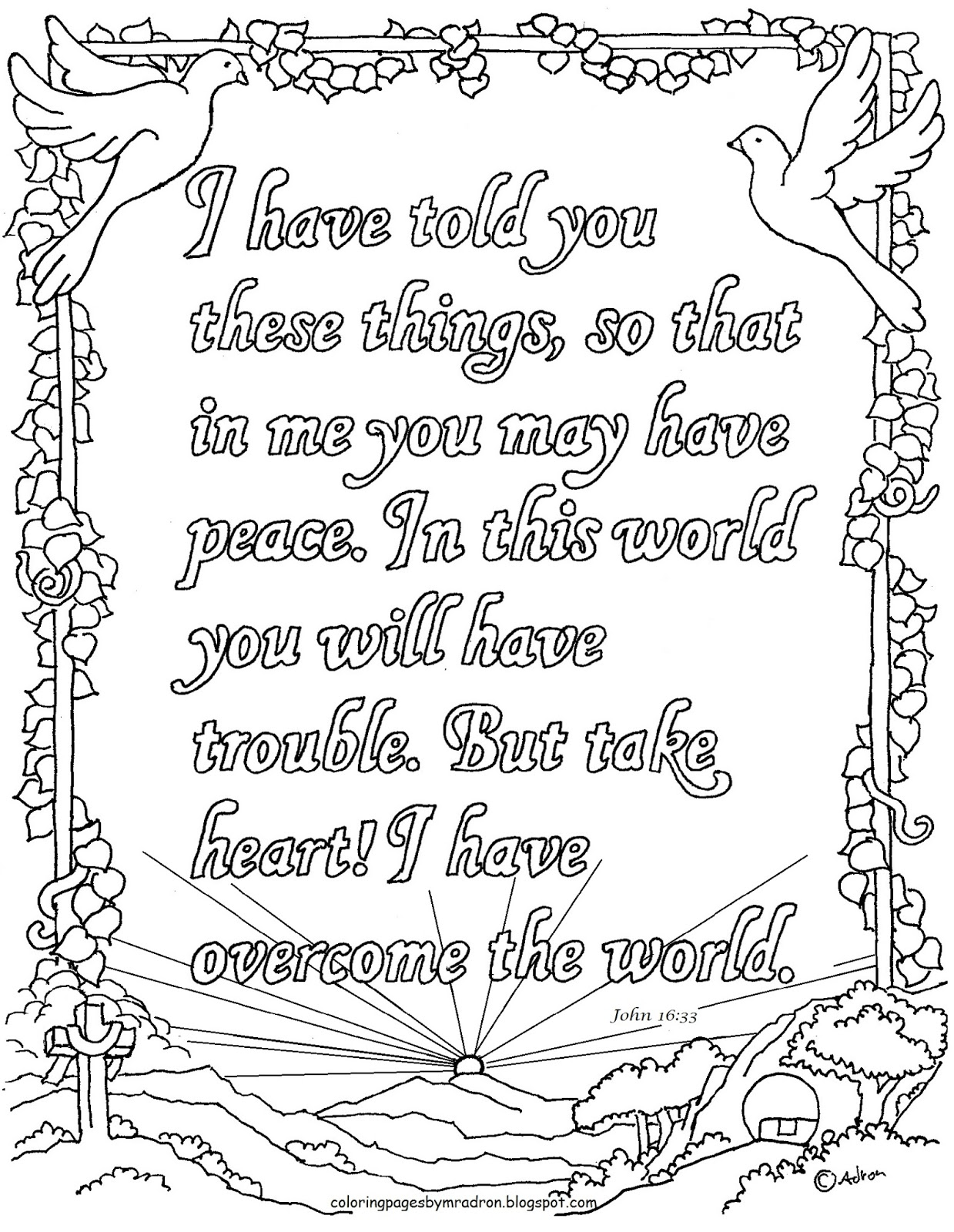 John 1633 Coloring Page I Have Overcome The World Printable