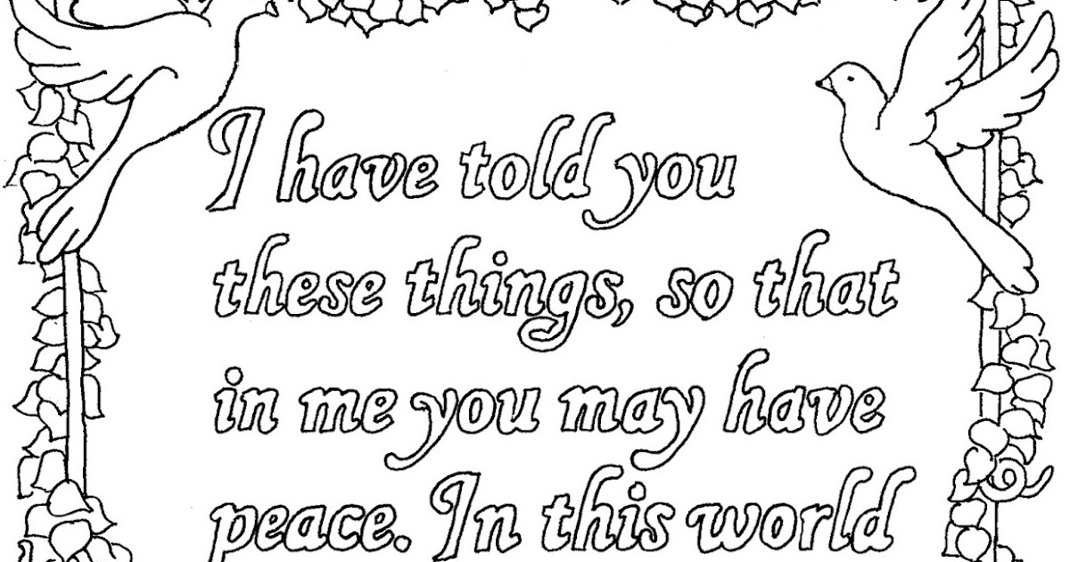 Coloring Pages for Kids by Mr. Adron: John 16:33 Printable