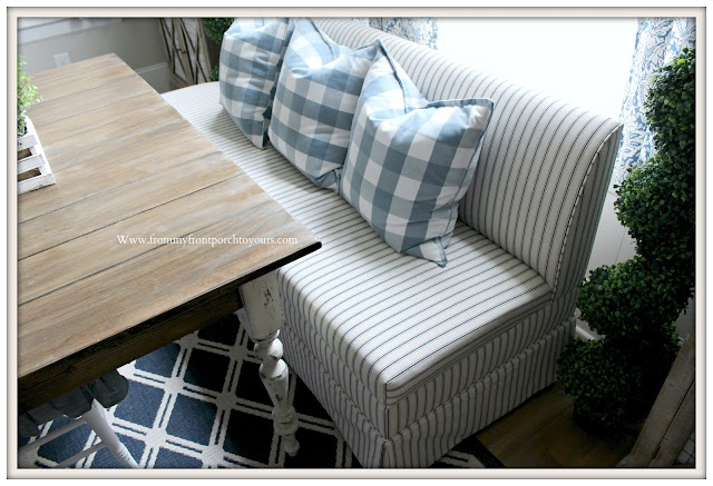 Custom-Banquette-Ticking Stripe-Buffalo Check-Ballard Designs-Breakfast- Nook -Makeover-From My Front Porch To Yours
