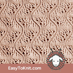 Eyelet Lace 72: Japanese Feather | Easy to knit #knittingetitches #eyeletlace