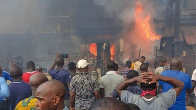 PHOTOS: Fire guts popular Apongbon market in Lagos, destroyed goods worth of a million