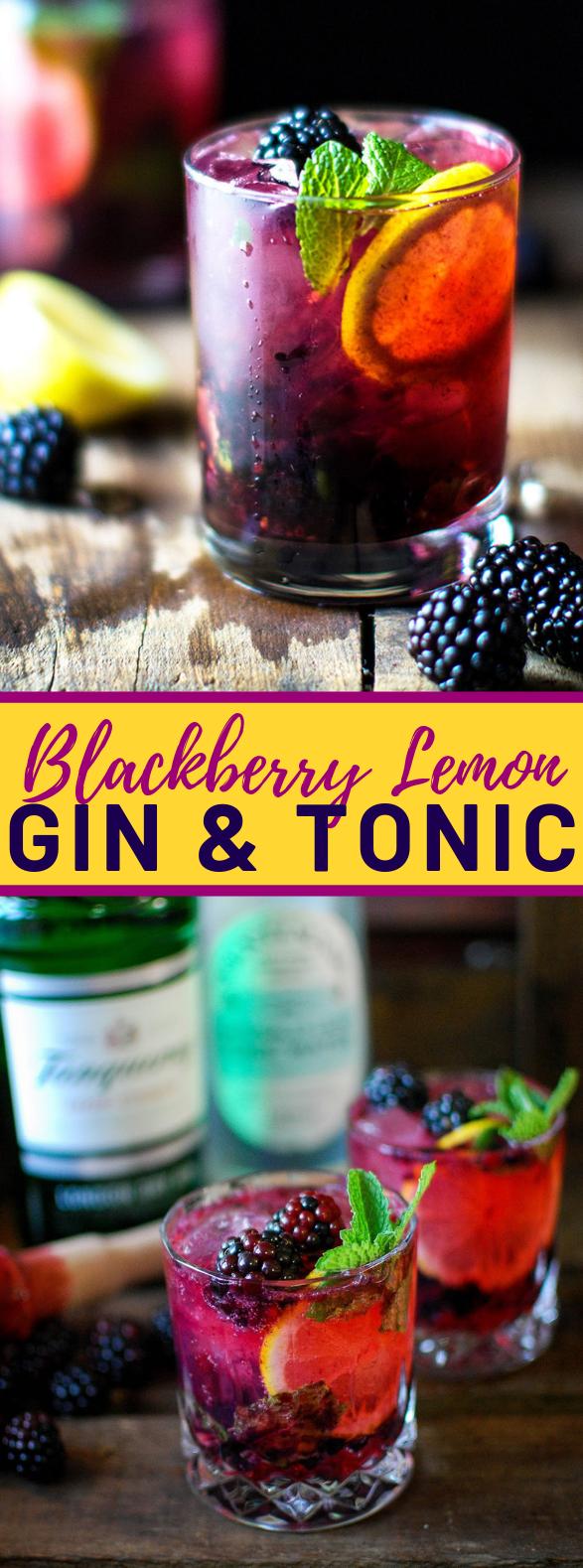 Blackberry Lemon Gin & Tonic #drinks #cocktails