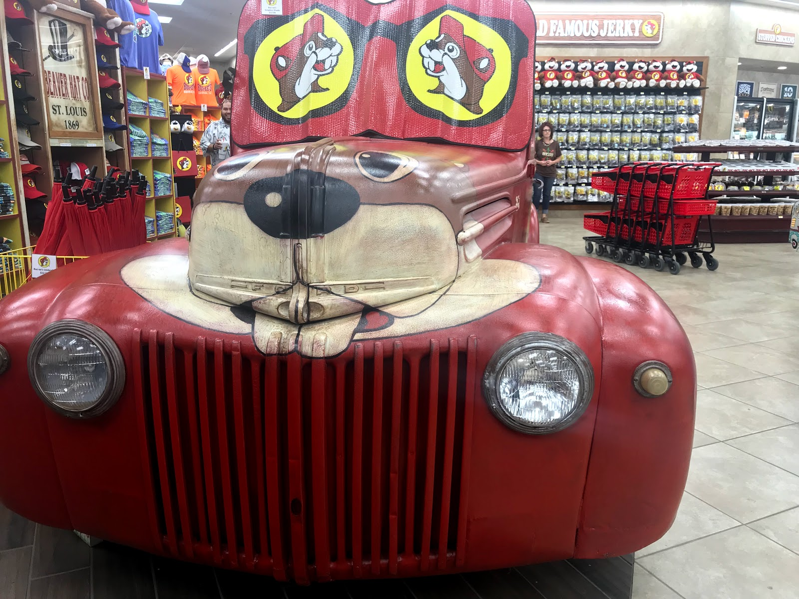 Image: A liitle half truck parked in the gas station selling stuffed beavers to the public. Seen first on Bits and Babbles blog