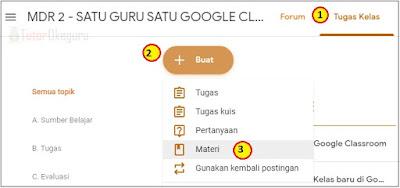 cara menambah materi pelajaran google classroom