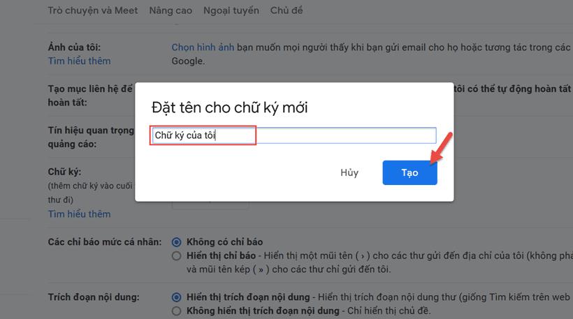 Cách tạo chữ ký trên Gmail