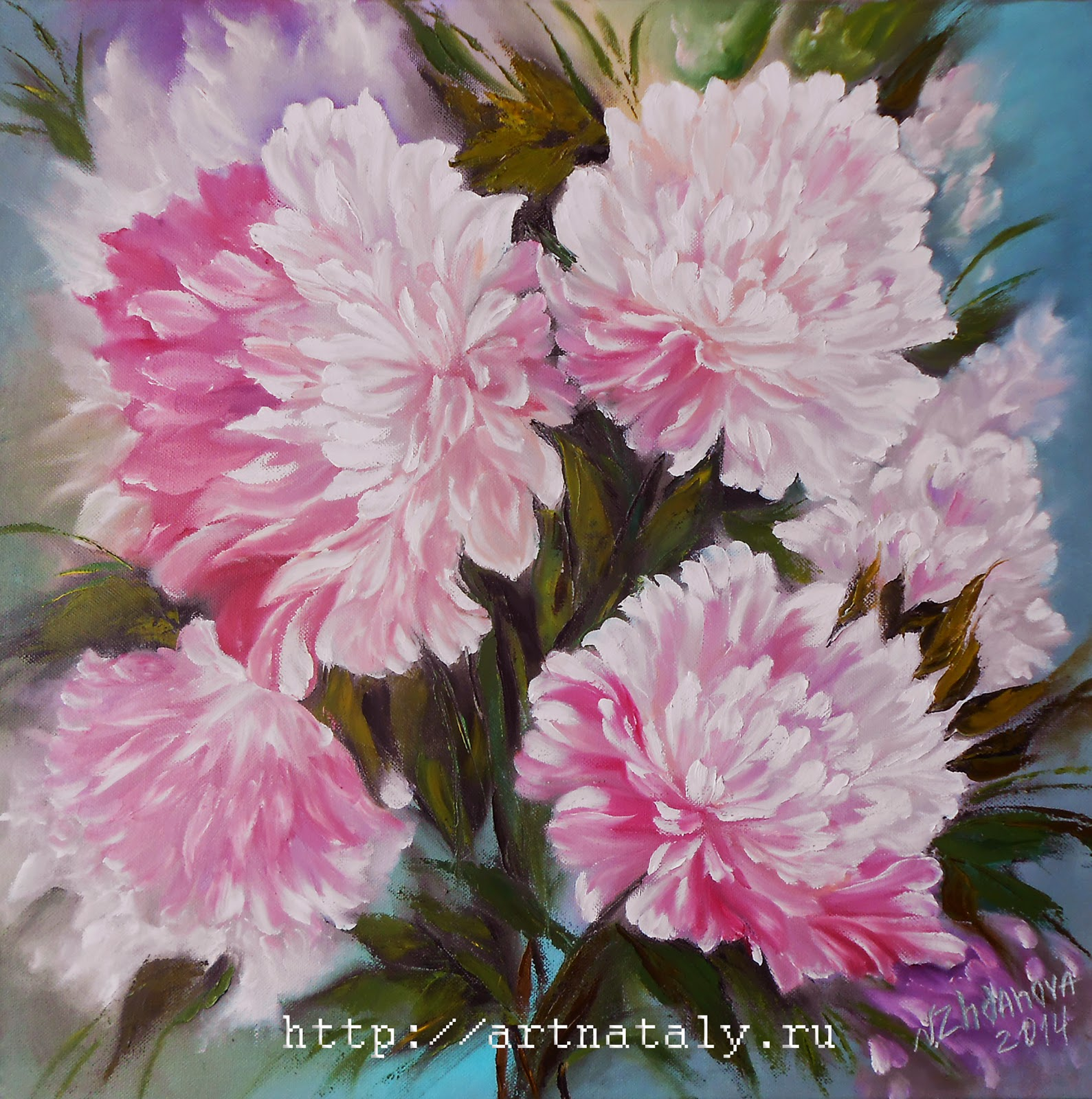 Peonies pink, Russian art painting Flowers wall art in style Impressionism.  Oil on canvas, mixed painting technique, palette knife.