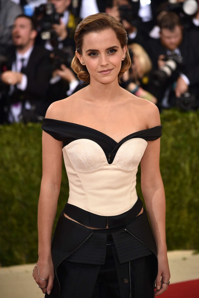 Actress Emma Watson Stills In Black Dress