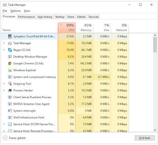 CPU Usage 100% Task Manager