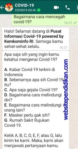 Cara Cepat Mengetahui Info Virus Corona Melalui Fitur Layanan WhatsApp Chatbot Covid19.go.id, Info Akurat dan Gratis