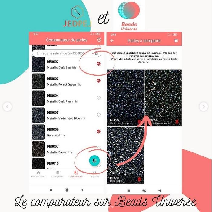 comparateur de l'application beads universe