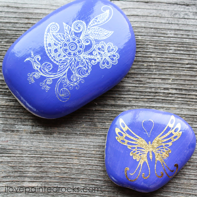 rock painting ideas with tattoos