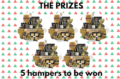 A graphic showing the five hampers that are available to win