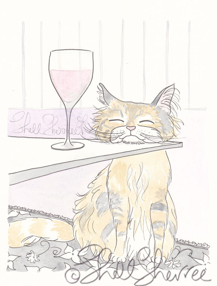 Tabby Cat Wine Time fluffy cat illustration  © Shell Sherree all rights reserved