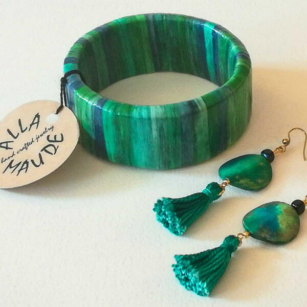 recycled paper striped bangle bracelet and paper and thread tassel earrings
