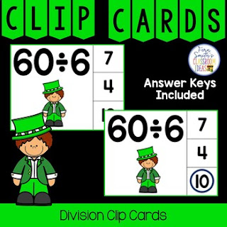 Division Facts 1 to 12 Clip Cards Leprechaun Themed