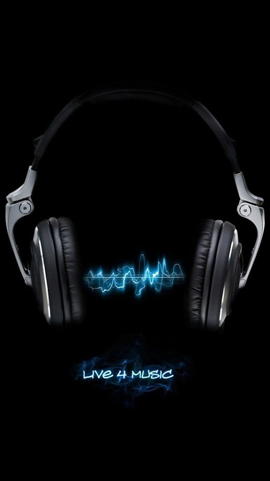 Live For Music Black Neon Blue  Galaxy Note HD Wallpaper