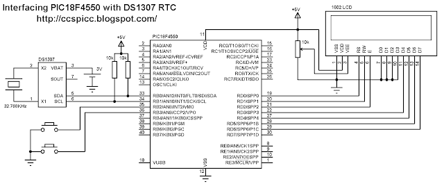Interfacing PIC18F4550 with DS1307 real time clock RTC circuit CCS PIC C code