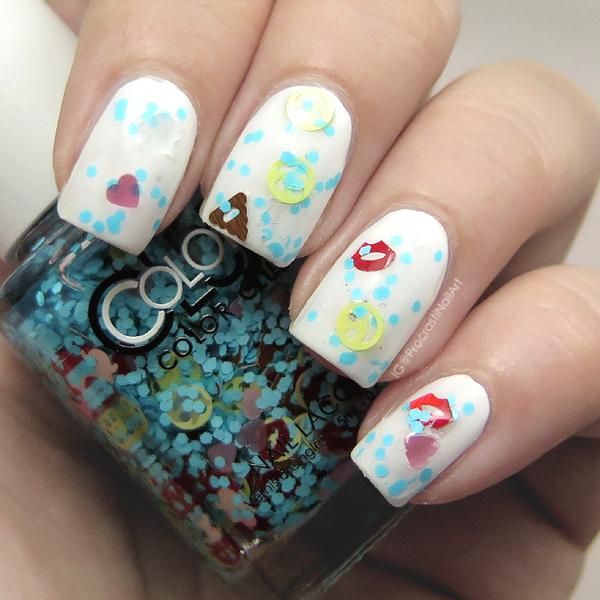 Blue emoji glitter nail polish