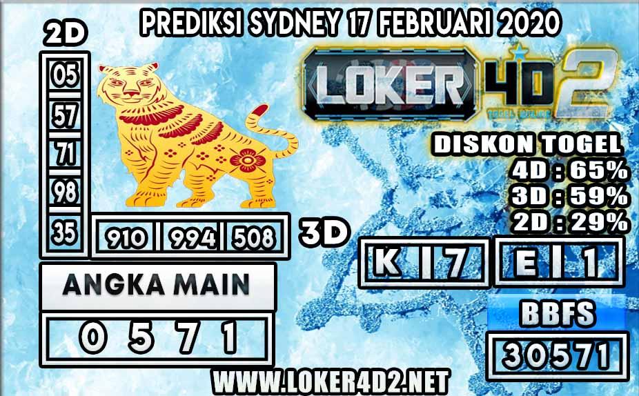 PREDIKSI TOGEL SYDNEY LOKER4D2 17 FEBRUARI 2020
