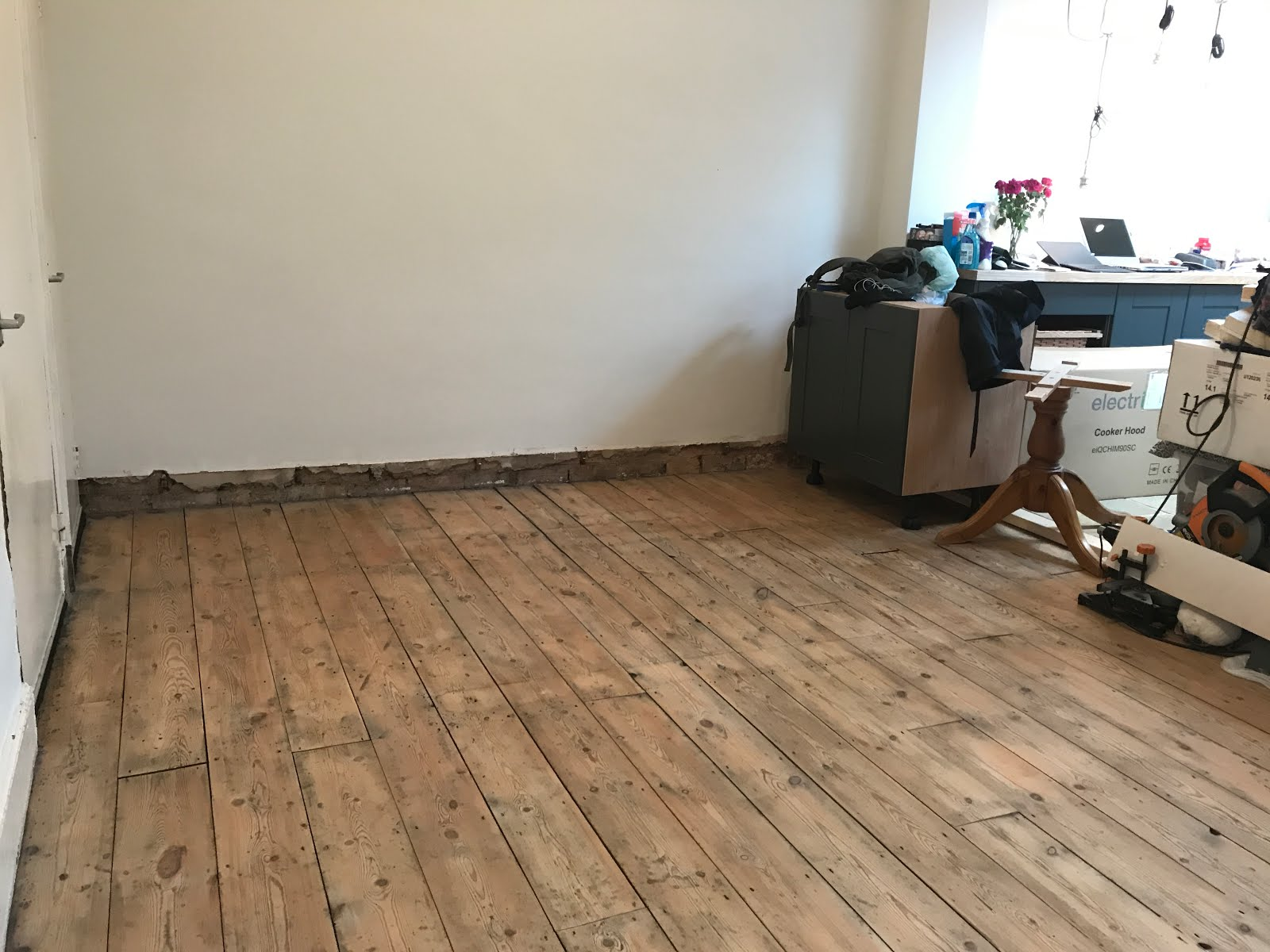 sanding back victorian floorboards