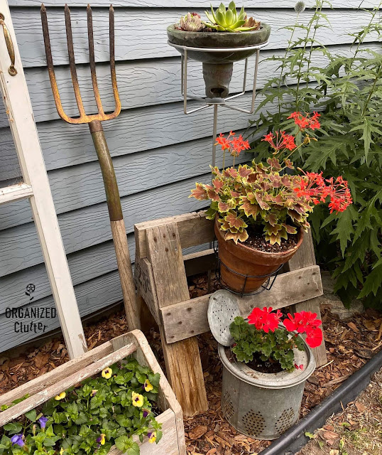 Foto de uma vinheta de jardim de lixo com um plantador de isolador de alta frequência