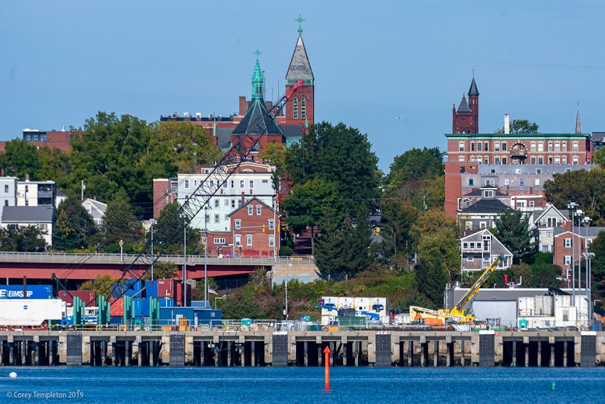 Portland, Maine USA October 2019 photo by Corey Templeton. A view up State Street from across the harbor, from early October.